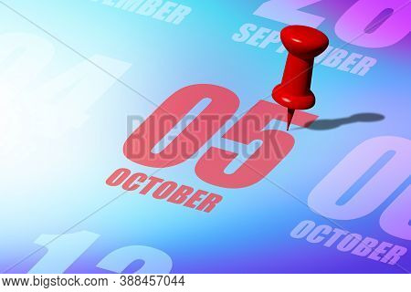 October 5th. Day 5 Of Month, Red Date Written And Pinned On A Calendar To Remind You An Important Ev