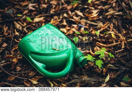 Plastic Canister In Autumn Forest. Toxins Into Nature Everywhere. Jerrycan In Park Among Fallen Oran
