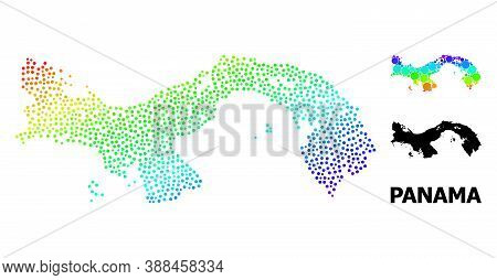 Dotted Rainbow Gradient, And Monochrome Map Of Panama, And Black Caption. Vector Model Is Created Fr