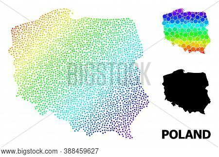 Pixel Spectrum, And Monochrome Map Of Poland, And Black Title. Vector Structure Is Created From Map