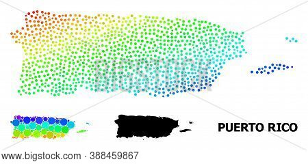 Dot Bright Spectral, And Solid Map Of Puerto Rico, And Black Tag. Vector Structure Is Created From M