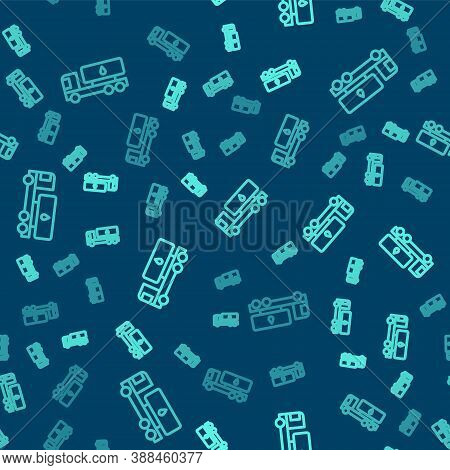 Green Line Tanker Truck Icon Isolated Seamless Pattern On Blue Background. Petroleum Tanker, Petrol
