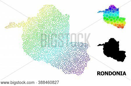 Dot Rainbow Gradient, And Solid Map Of Rondonia State, And Black Title. Vector Model Is Created From