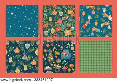 Set Of Christmas And Happy New Year Seamless Patterns. Vector Design Template.