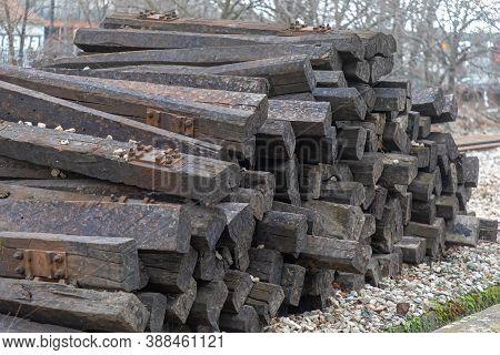 Big Pile Of Old Wooden Railroad Ties