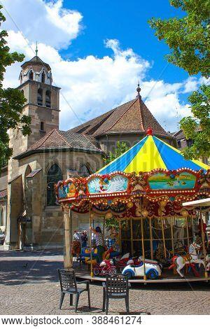 Geneva, Switzerland - June 17, 2016: The St. Pierre Cathedral Is A Cathedral In Geneva, Switzerland,