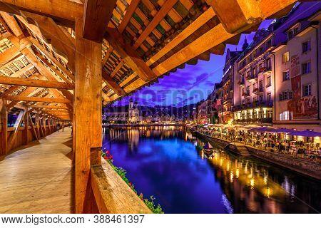 Chexbres, Switzerland - Aug 12, 2020: Amazing Nightlife Of Lucerne At Evening. Jesuitenkirche Or Chu