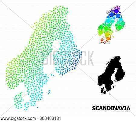 Pixel Spectral, And Solid Map Of Scandinavia, And Black Title. Vector Model Is Created From Map Of S