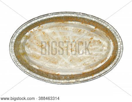 Foil Box Cake Packaging Top View (with Clipping Path) Isolated On White Background