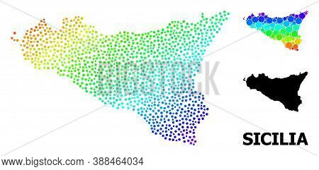 Dotted Rainbow Gradient, And Monochrome Map Of Sicilia Island, And Black Caption. Vector Model Is Cr