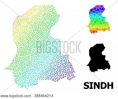 Pixel Spectral, And Solid Map Of Sindh Province, And Black Tag. Vector Structure Is Created From Map