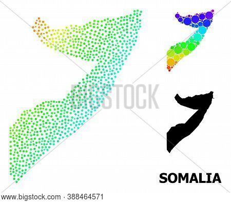 Dotted Spectrum, And Monochrome Map Of Somalia, And Black Name. Vector Model Is Created From Map Of