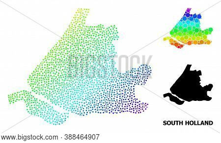 Dotted Spectrum, And Monochrome Map Of South Holland, And Black Name. Vector Structure Is Created Fr