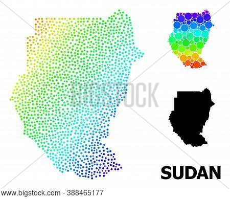 Dotted Rainbow Gradient, And Solid Map Of Sudan, And Black Tag. Vector Model Is Created From Map Of