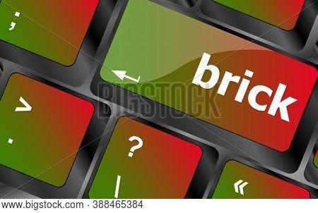 Brick Word On Computer Keyboard Key Button