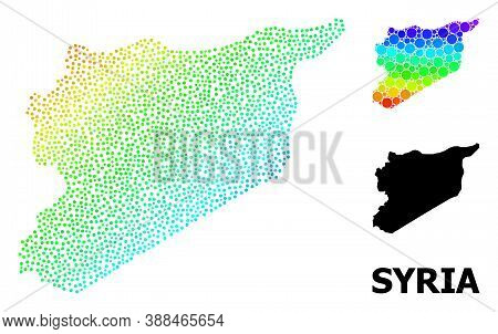 Dotted Rainbow Gradient, And Solid Map Of Syria, And Black Name. Vector Model Is Created From Map Of