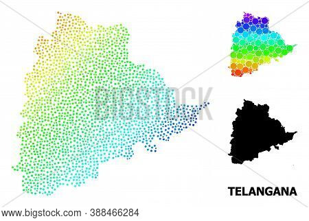 Pixel Rainbow Gradient, And Solid Map Of Telangana State, And Black Tag. Vector Structure Is Created