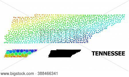 Pixelated Spectral, And Solid Map Of Tennessee State, And Black Tag. Vector Model Is Created From Ma