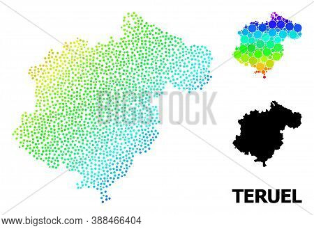 Dot Spectral, And Monochrome Map Of Teruel Province, And Black Text. Vector Model Is Created From Ma