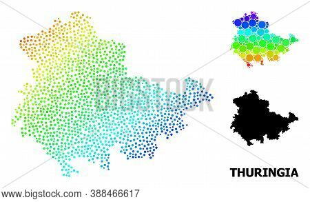 Dotted Rainbow Gradient, And Monochrome Map Of Thuringia State, And Black Caption. Vector Structure