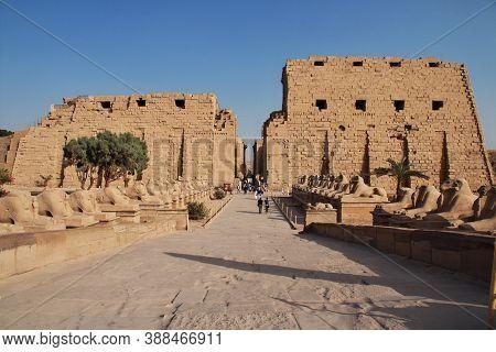 Luxor, Egypt - 01 Mar 2017: Ancient Karnak Temple In Luxor, Egypt