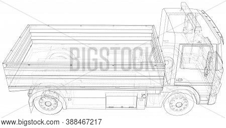 Flatbed Truck Illustration Vector. Wire-frame Line Isolated. Vector Rendering Of 3d