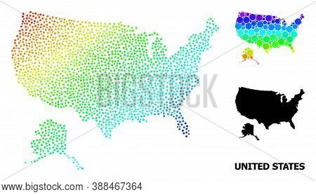 Pixel Rainbow Gradient, And Solid Map Of Usa And Alaska, And Black Text. Vector Structure Is Created