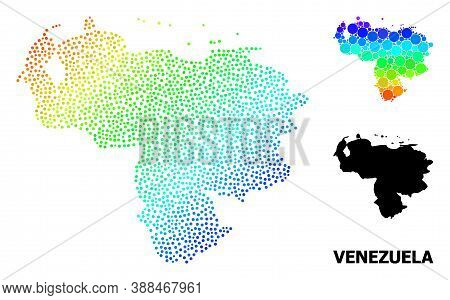 Dot Spectrum, And Solid Map Of Venezuela, And Black Text. Vector Structure Is Created From Map Of Ve