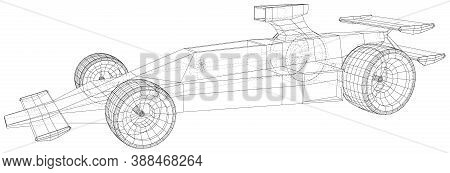 Race Car. Wire-frame. Eps10 Format. Vector Created Of 3d.