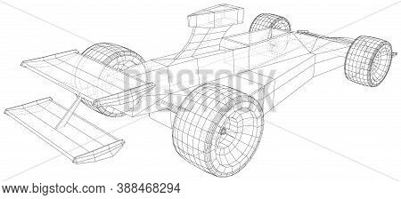 Model Speed Car. Abstract Drawing. Wire-frame. Eps10 Format. Vector Created Of 3d.
