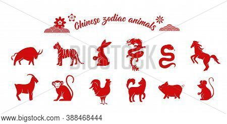 Chinese Zodiac Animal Collection. Twelve Asian New Year Red Character Logos Set Isolated On White Ba
