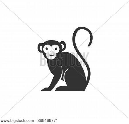Monkey Silhouette Vector Illustration. Black And White Ape Logo. Isolated On White Background.