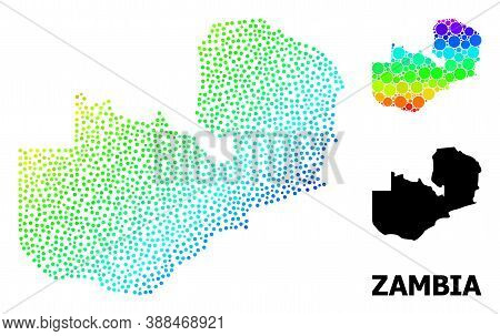 Dotted Rainbow Gradient, And Solid Map Of Zambia, And Black Tag. Vector Model Is Created From Map Of