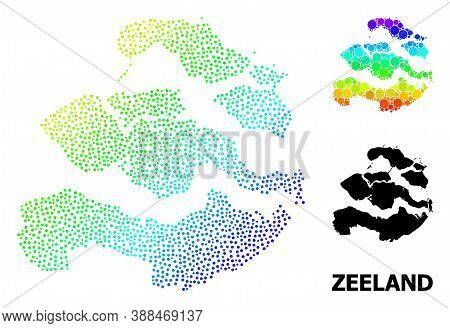 Pixelated Spectrum, And Solid Map Of Zeeland Province, And Black Caption. Vector Structure Is Create