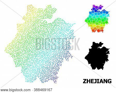 Dot Rainbow Gradient, And Monochrome Map Of Zhejiang Province, And Black Title. Vector Structure Is