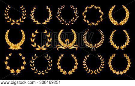 Golden Laurel Wreath. Collection Of Different Black Circular Laurel, Olive, Wheat Wreaths Depicting