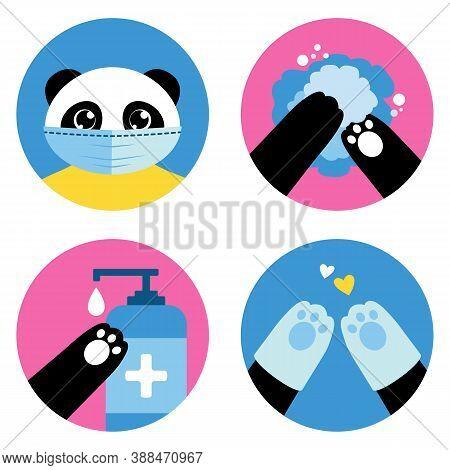 Coronavirus Personal Hygiene Illustrated By The Cute Panda Bear. Flat Vector Icons Set: Wear A Mask,