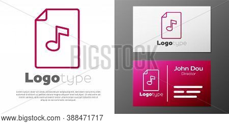 Logotype Line Music Book With Note Icon Isolated On White Background. Music Sheet With Note Stave. N