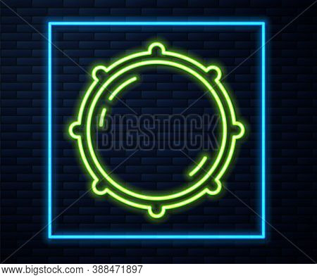 Glowing Neon Line Dial Knob Level Technology Settings Icon Isolated On Brick Wall Background. Volume