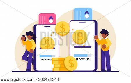 Mobile Payment. Transfer Money Online. Phone Transaction, Business Internet Pay And Digital Banking.