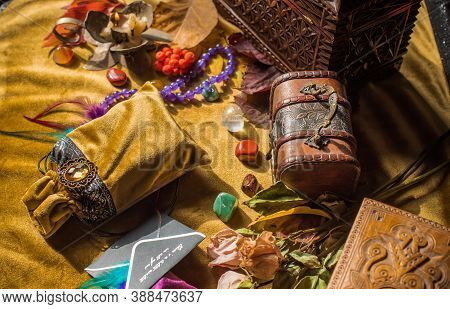 Magic Scene, Mystical Atmosphere, View Of Wicca The Velvet Table, Esoteric Concept, Fortune Telling