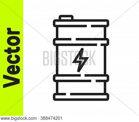 Black Line Bio Fuel Barrel Icon Isolated On White Background. Eco Bio And Canister. Green Environmen