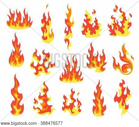 Set Of Red And Orange Fire Flame. Flames Of Different Shapes. Fireball Set, Flaming Symbols. Idea Of