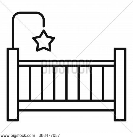Childrens Room Baby Crib Icon. Outline Childrens Room Baby Crib Vector Icon For Web Design Isolated