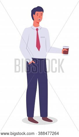 Smiling Man Young Businessman Dressed In Shirt And Tie Standing At Full Height With A Cup Of Coffee