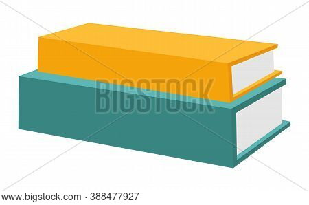 Books Stack Vector Illustration. Horizontal Stack Of Colored Books, Educational Infographic Template