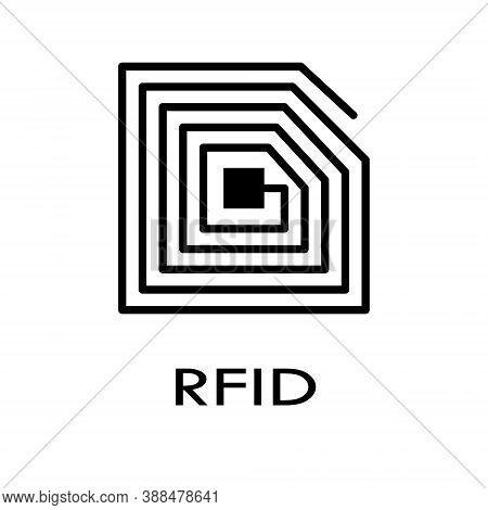 Rfid Tag Vector Icon. Rfid Symbol, Logo Illustration.