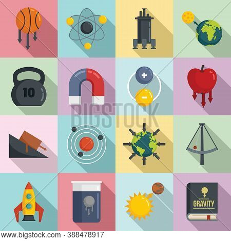 Gravity Icons Set. Flat Set Of Gravity Vector Icons For Web Design