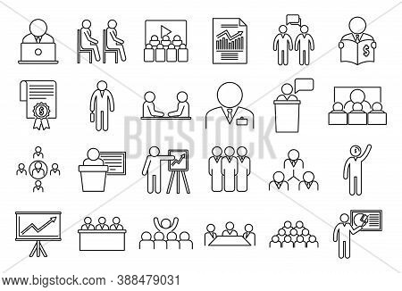 Business Training Presentation Icons Set. Outline Set Of Business Training Presentation Vector Icons