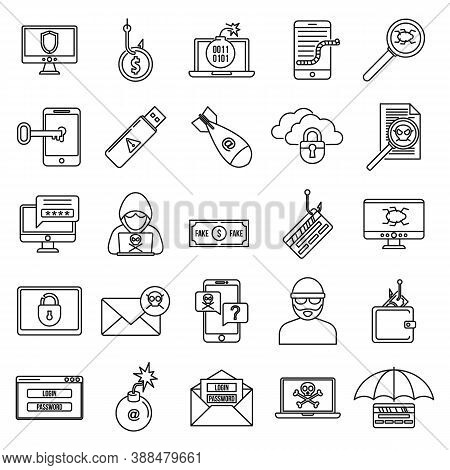 Fraud Spy Icons Set. Outline Set Of Fraud Spy Vector Icons For Web Design Isolated On White Backgrou